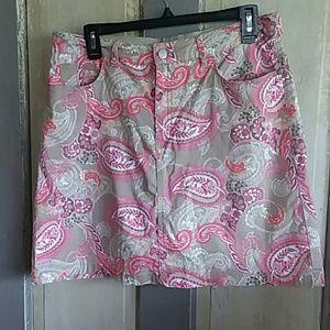 Croft and Barrow Khaki Paisley Skirt